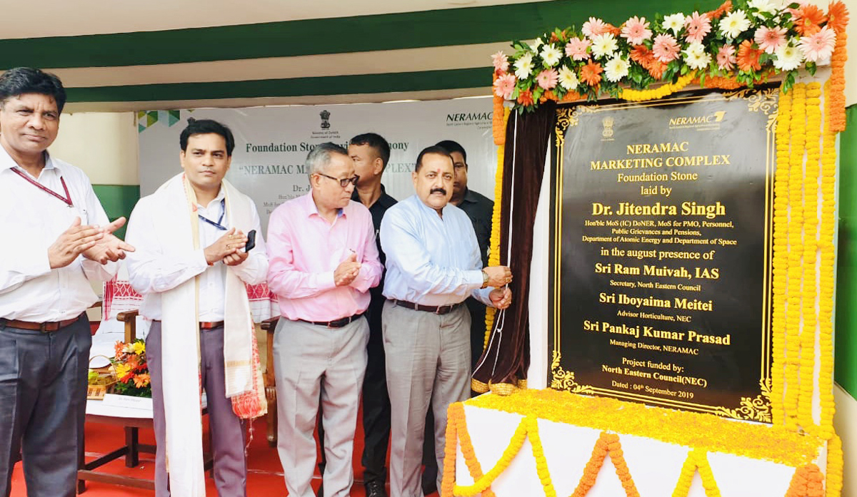 Union Minister Dr Jitendra Singh laying the foundation stone of seven-storey multiple market complex, unique of its kind in North East, at Guwahati, on Wednesday.