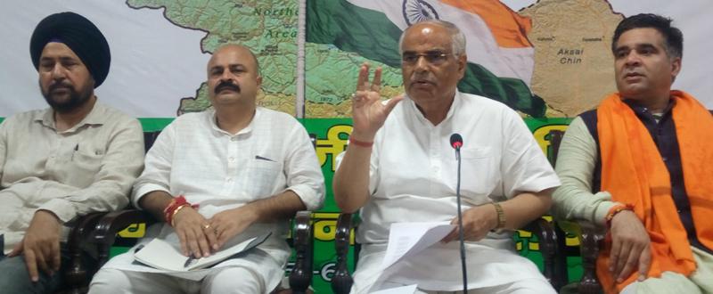 BJP leaders during office bearers meeting at Jammu on Saturday.
