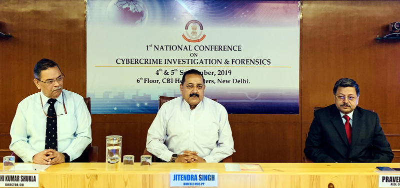"""Union Minister Dr Jitendra Singh, flanked by Director CBI Rishi Kumar Shukla and Additional Director Praveen Sinha at the two-day National Conference on """"Cyber Crime"""" organized by CBI, at New Delhi on Thursday."""