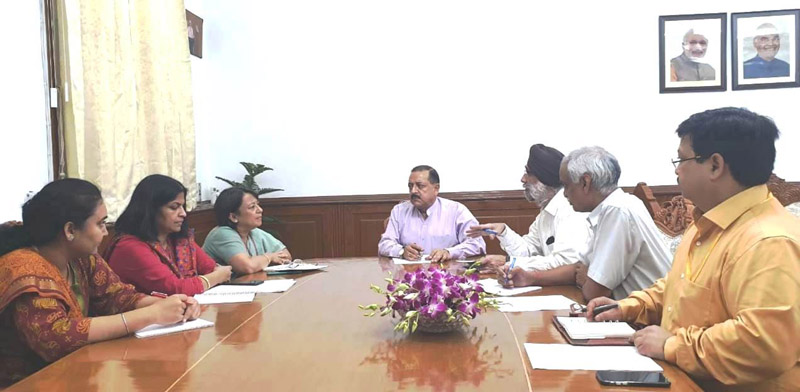 Union Minister Dr Jitendra Singh being briefed by Indian High Commissioner to Bangladesh Riva Ganguli Das about projects along Northeast borders, at New Delhi on Thursday.