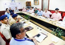 MP Jugal Kishore Sharma chairing a meeting of AAC at Jammu Airport.