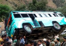 Ill fated bus after accident near Bandarkote area of Kishtwar.
