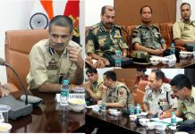 IGP Jammu Zone, Mukesh Singh chairing a meeting at PCR Jammu.