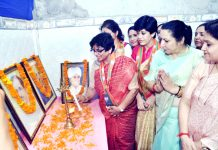 BJP Mahila Morcha, national president, Vijay Rahatkar lighting the lamp during a party programme at Akhnoor on Monday.