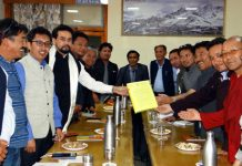 CEC Leh Wangyal and others submitting memorandum to Union MoS for Finance Anurag Singh Thakur at Leh.
