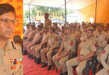 IGP Jammu Zone Mukesh Singh addressing jawans and officers.