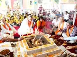 A hawan being performed in Nagbani school to celebrate birthday of Maharaja Hari Singh on Saturday.