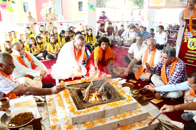 A hawan being performed in Nagbani school to celebrate birthday of Maharaja Hari Singh on Saturday.