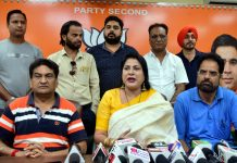 BJP Minority Morcha vice president Dr Nahida Sheikh at a press conference at Jammu on Tuesday. -Excelsior/Rakesh