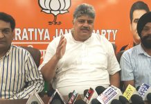 BJP, Vice President Narayan Singh & party spokesman Balbir Ram Rattan talking to reporters at Jammu on Thursday.