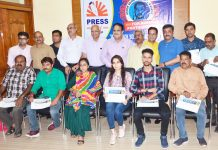 Winners of Ashok Sodhi Memorial Photography Awards with jury members and Press Club Management Committee. —Excelsior/Rakesh
