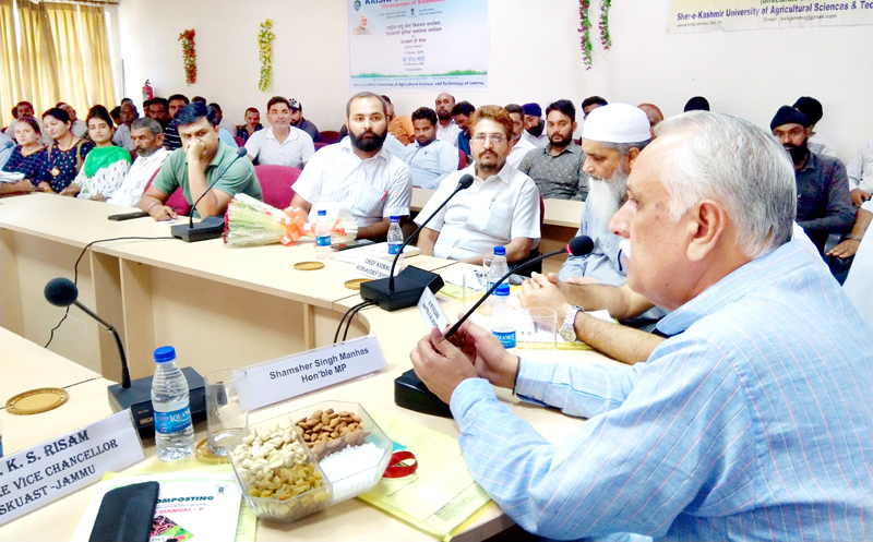 BJP MP (RS) Shamsher Singh Manhas during a farmers' workshop at SKUAST, Jammu on Wednesday.