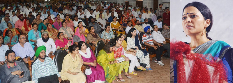 DC Jammu Sushma Chauhan during launch of solid waste management campaign in Jammu on Thursday.