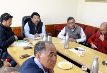 CEC LAHDC, Gyal P Wangyal chairing a meeting of Councillors at Leh on Thursday.
