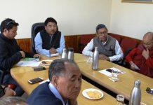 CEC LAHDC, Gyal P Wangyal chairing a meeting of Councillors at Leh on Thursday.