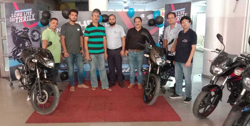 All-new Bajaj Pulsar 125 CBS being launched at Jammu Motors showroom in Jammu on Tuesday.