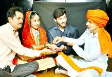 A scene from the Natrang play 'Ladai' staged at Jammu on Sunday.