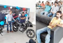 Customers and guests on the launch of Pulsar 125 Neon at NSF Bajaj in Jammu.