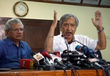 CPI (M) General Secretary Sitaram Yechury with party leader from Jammu and Kashmir Mohammad Yousuf Tarigami addressing a press conference on Kashmir issue in New Delhi on Tuesday. (UNI)