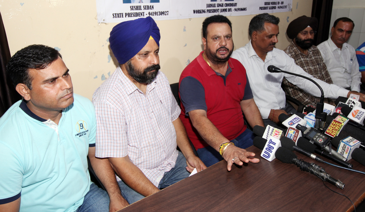 State president of JKGPA, Sushil Sudan, along with others addressing a press conference at Jammu. -Excelsior/Rakesh