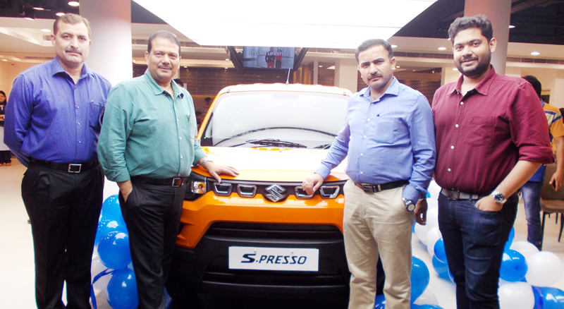 RTO Jammu, Dhanantar Singh and others on the launch of Mini SUV S-PRESSO at Jammu Motors, Akhnoor Road, Jammu.