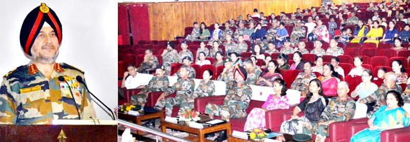 Lt Gen Ranbir Singh, Army Commander, Northern Command addressing a gathering on World Heart Day.