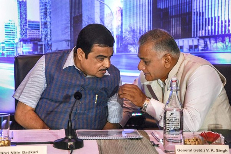 Union Road Transport and Shipping Minister Nitin Gadkari and Minister of State for Road Transport and Highways VK Singh at an investor roadshow for toll operate transfer highway projects, in Mumbai on Monday.