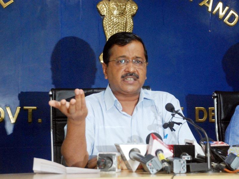 Delhi Chief Minister Arvind Kejriwal addressing a press conference in New Delhi on Friday. (UNI)