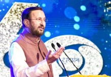 Union Minister for Environment, Forest & Climate Change and Information & Broadcasting, Shri Prakash Javadekar addressing the gathering at the 60th Foundation Day celebrations of Doordarshan, in New Delhi on Monday.