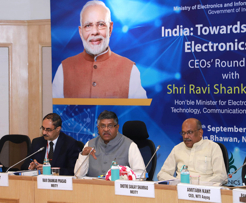 Union Minister for Law & Justice, Communications and Electronics & Information Technology, Ravi Shankar Prasad holding the round table discussions with the prominent CEOs of the Electronics Industry, in New Delhi on Monday.