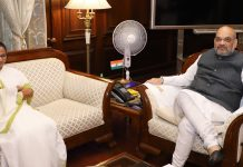 Chief Minister of West Bengal, Mamata Banerjee calling on the Union Home Minister, Amit Shah, in New Delhi on Thursday.