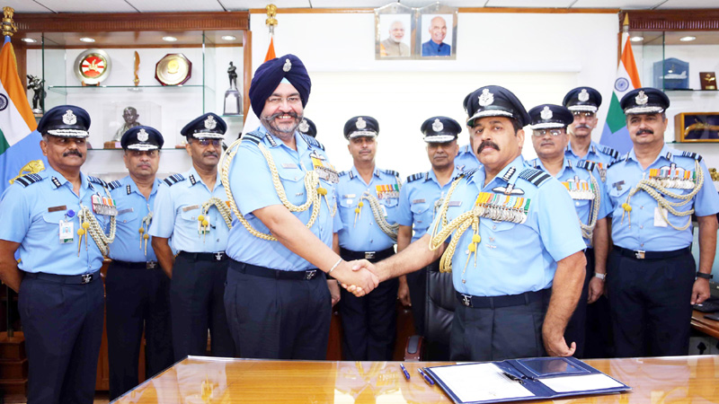 Air Chief Marshal R.K.S. Bhadauria takes over as the Chief of the Air Staff from Air Chief Marshal B.S. Dhanoa, at Air Headquarters (Vayu Bhavan), in New Delhi on Monday.