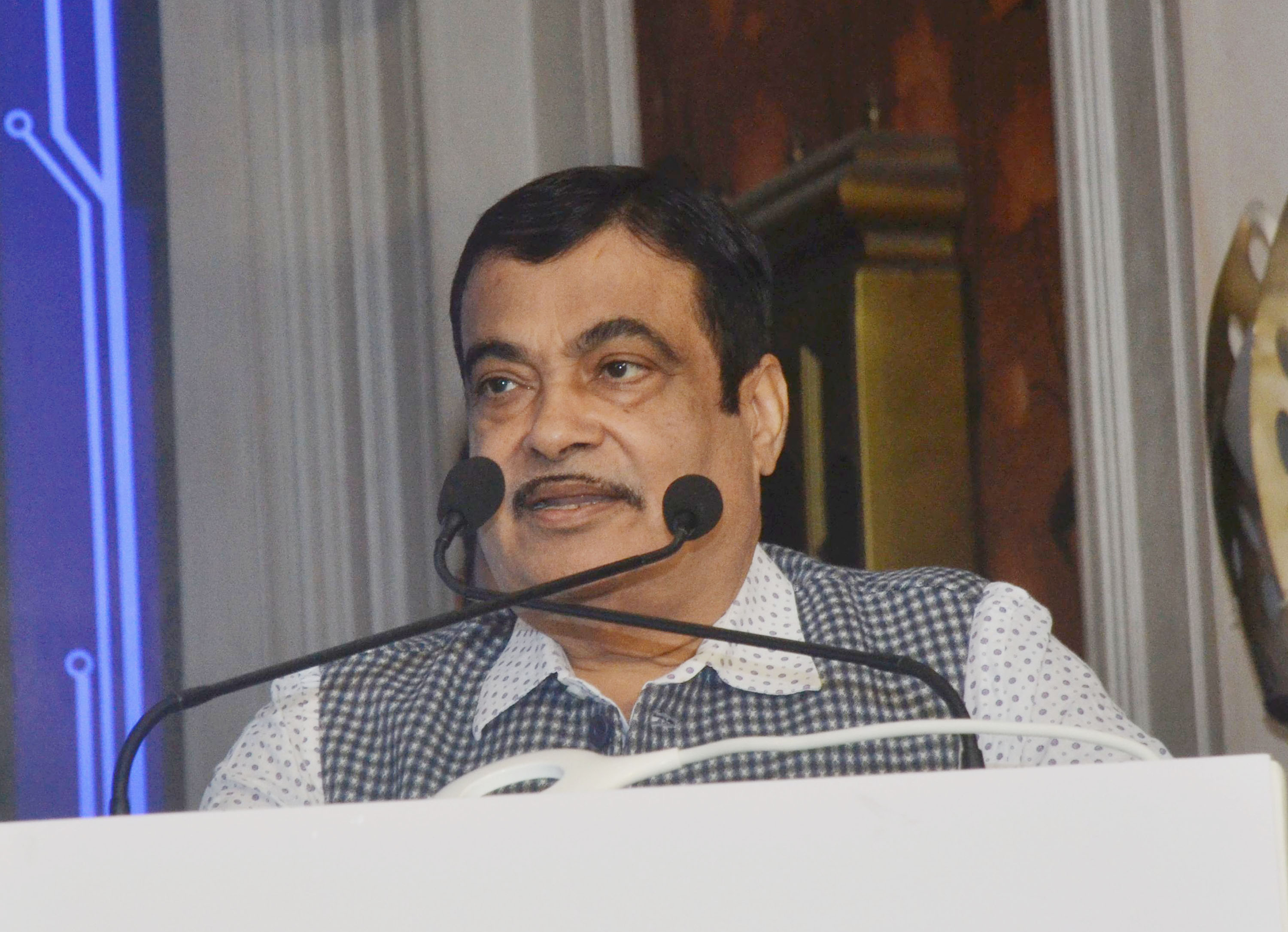 Nitin Gadkari, Union Minister for Road Transport and Highways, Shipping, Micro, Small and Medium Enterprises addressing at the launching the A Quiet Revolution Honda BSVI Two-Wheeler New Premium 'Activa 125, in New Delhi on Wednesday. (UNI)