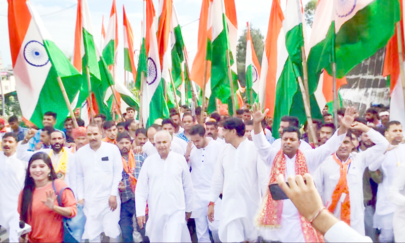 Shiv Sena activists during Tiranga Rally at Jammu on Sunday.