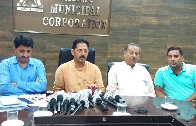 Chairman, Public Health Sanitation Committee, JMC, Baldev Singh Billawaria, addressing media persons in Jammu.