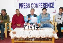 LBA president, PT Kunzang flanked by other religious heads addressing a press conference at PCL Office, Leh on Saturday. —Excelsior/Morup Stanzin
