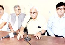 Former CS and chief patron Vyeth, Vijay Bakaya, former DGP, Kuldeep Khuda with Prof. B.L Zutshi and Prof Virender Rawal talking to reporters at Jammu on Sunday.