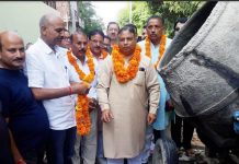 Former Minister Sat Sharma kick starting development works on Wednesday.