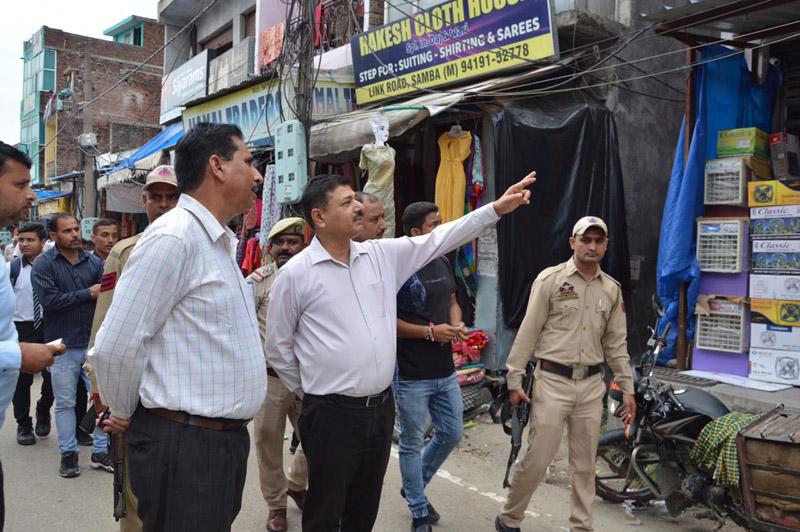 DC Samba, Rohit Khajuria during visit to market on Saturday.