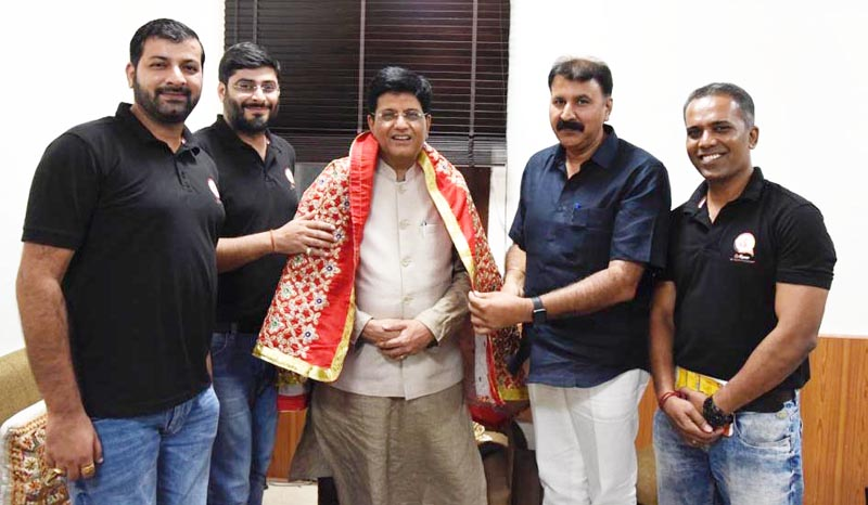 BJP leader from J&K Arvind Gupta meeting Railways Minister Piyush Goyal alongwith CoRover team for launch of AskDisha technology in J&K.