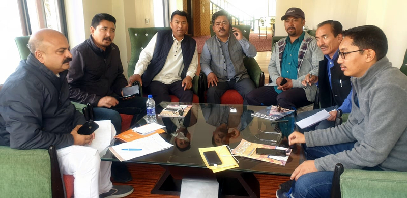 BJP leaders during a meeting at Leh on Friday.