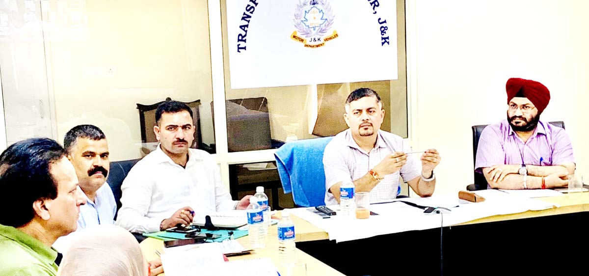 Amit Sharma, Special Secretary, Transport Department, chairing a meeting of officers at Jammu.