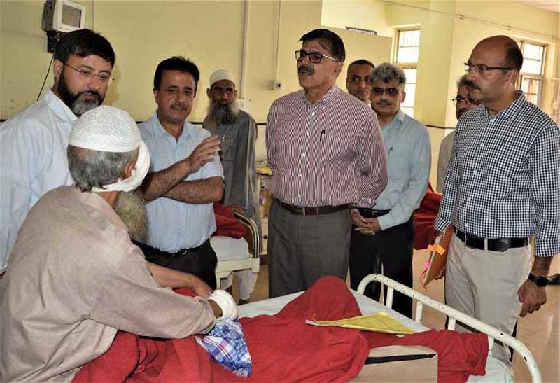 Advisor Vijay Kumar during visit to Dental College Srinagar on Thursday.