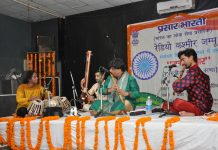 An artist performing during music concert 'Raag Darbaar' at Jammu on Thursday.