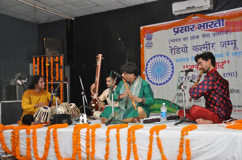 An artist performing during music concert 'Raag Darbaar' at Jammu on Thursday.