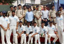 DIG Jammu Vivek Gupta and others posing for photograph after the inauguration of JSK Range Friendship Cricket Cup at Parade ground Jammu on Tuesday.