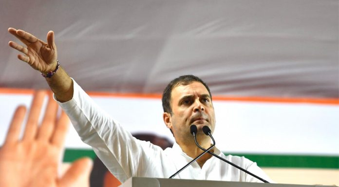 Congress leader Rahul Gandhi addressing an election rally at Latur in Maharashtra on Sunday.