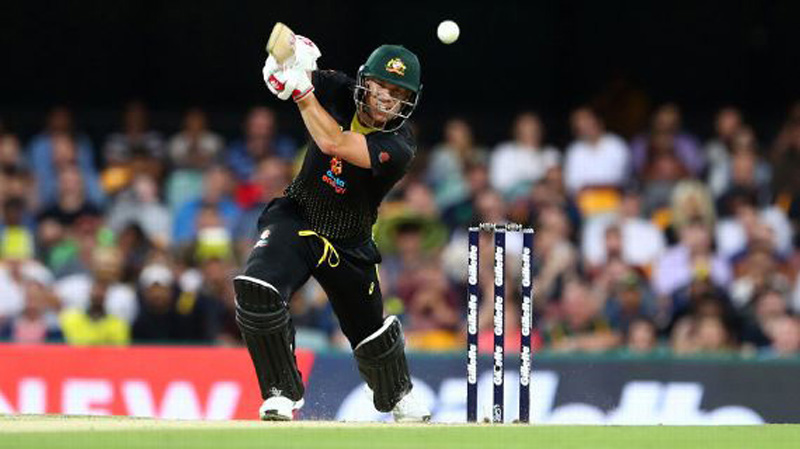 David Warner playing a shot during 2nd Twenty20 match against Sri Lanka at Brisbane on Wednesday.