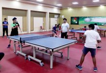 Players in action during Jammu District Table Tennis Championship at Indoor Complex, MA Stadium in Jammu. -Excelsior/Rakesh