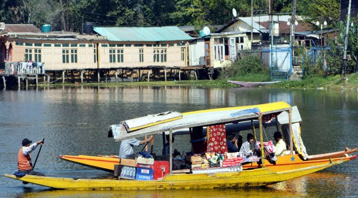 Tourists enjoy 'Shikara' ride in Dal lake. — Excelsior/Shakeel